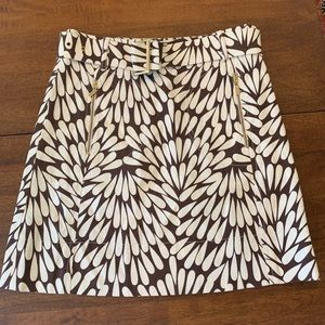 Tory Burch brown white belted skirt sz 2